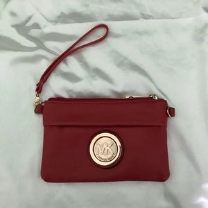 Michael Kors red and gold wristlet
